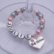 Big Sister Personalised Wine Glass Charm - Full Sparkle Style